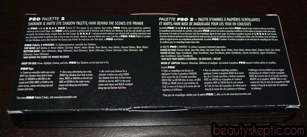 Lorac Pro 2 Retail Packaging - Rear