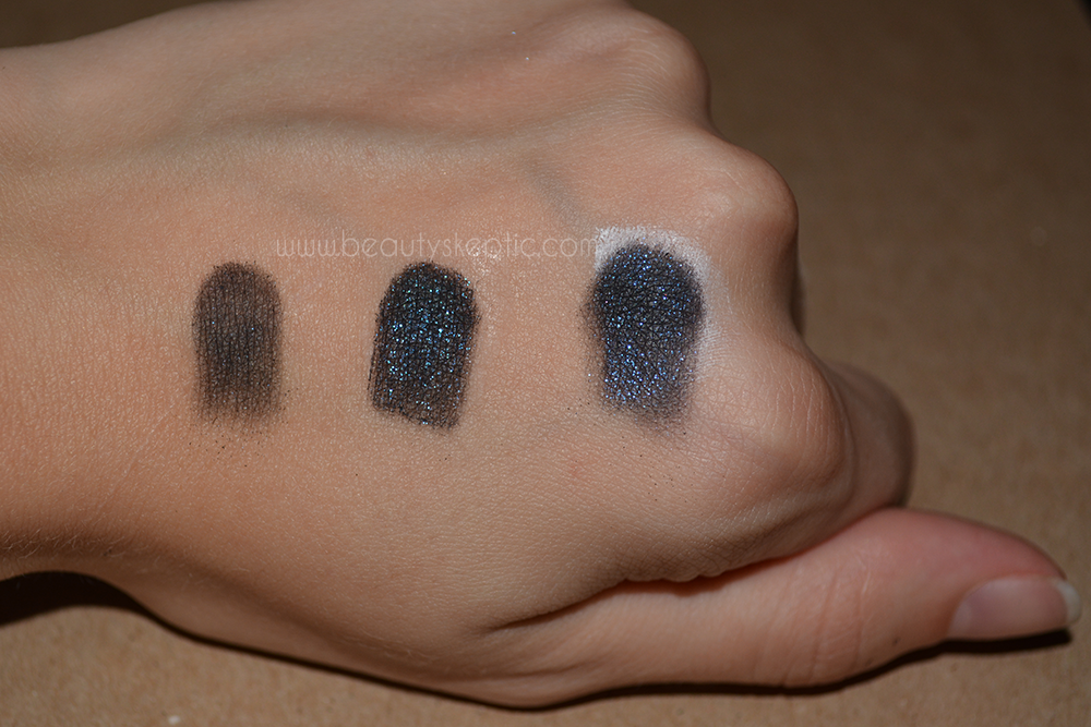 Sephora Eyeshadow in Space Odyssey - Swatches - on bare skin, UDPP, and Nyx Milk respectively