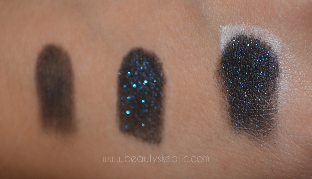 Sephora Eyeshadow in Space Odyssey - Swatches - on bare skin, UDPP, and Nyx Milk respectively 2