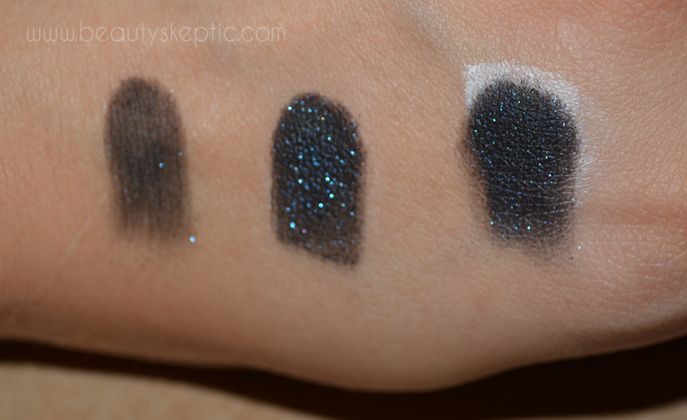 Sephora Eyeshadow in Space Odyssey - Swatches - on bare skin, UDPP, and Nyx Milk respectively 3