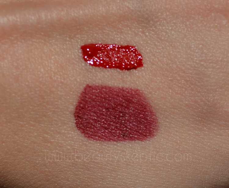 Maybelline Creamy Matte Lipstick - Divine Wine Swatch (Stila Beso above for comparison)
