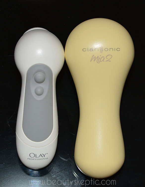 Clarisonic Mia 2 vs Olay Pro-X (Olay pictured left) - back