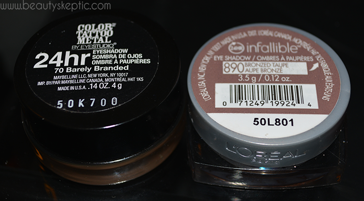 L'Oreal and Maybelline Gel Shadows - Packaging, Lid