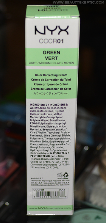 NYX Green CC Cream - Box Rear